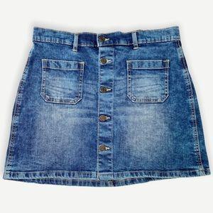 Gap Denim Button Front Mini Skirt Pockets 6 Retro
